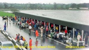 Mallory Park  pit lane during the Aurora AFX British F1 series race  1979